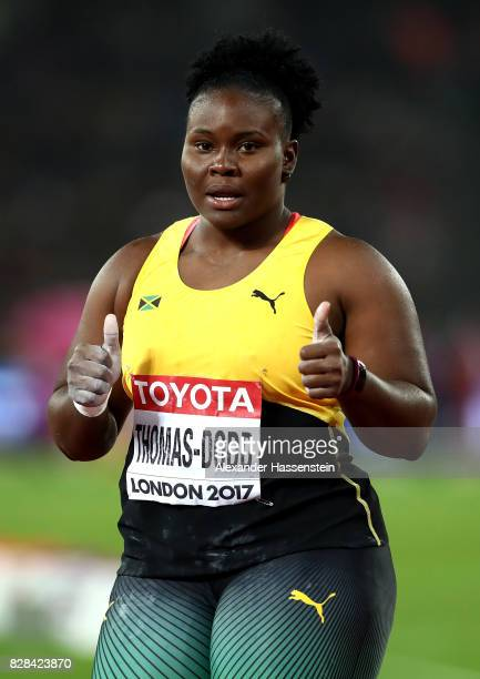 Danniel ThomasDodd of Jamaica competes in the Women's Shot Put final during day six of the 16th IAAF World Athletics Championships London 2017 at The...
