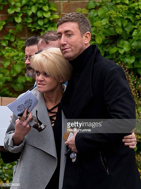 Danniella Westbrook and Christopher Maloney attend the funeral of entertainer producer and reality television star David Gest at Golders Green...