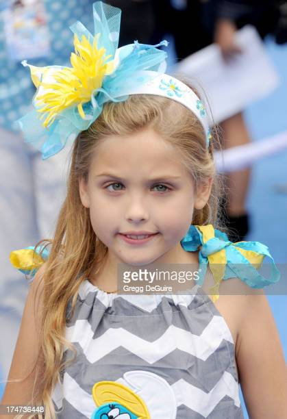Dannielynn Birkhead arrives at the Los Angeles premiere of Smurfs 2 at Regency Village Theatre on July 28 2013 in Westwood California
