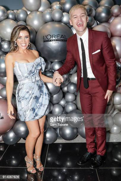 Dannii Minogue and Joel Creasey attend the 2018 L'Oreal Colour Trophy Awards on February 4 2018 in Melbourne Australia