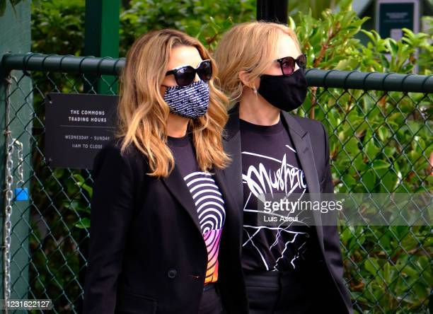 Dannii Minogue and Kylie Minogue attend the memorial service for Australian music promoter Michael Gudinski , on March 10, 2021 in Melbourne,...