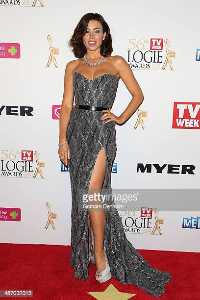 Dannii Minogue arrives at the 2014 Logie Awards at Crown Palladium on April 27 2014 in Melbourne Australia