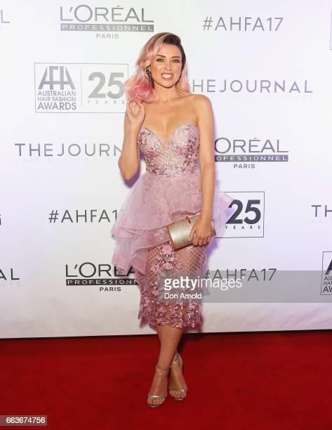 Dannii Minogue arrives at the 2017 Australian Hair Fashion Awards at Luna Park on April 2 2017 in Sydney Australia