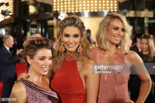 Dannii Minogue Delta Goodrem and Sylvia Jeffreys arrive at the 59th Annual Logie Awards at Crown Palladium on April 23 2017 in Melbourne Australia