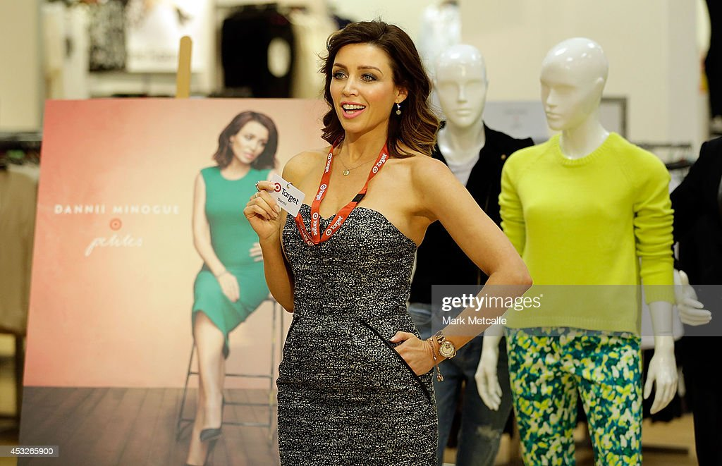 Dannii Minogue films a piece to camera at the launch of her Petites range at Target, Bondi Junction on August 7, 2014 in Sydney, Australia.