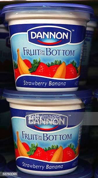 Dannon yogurt waits on a dairy shelve for customers at a grocery store 27 July in Centreville Virginia Shares in Groupe Danone SA the world's largest...