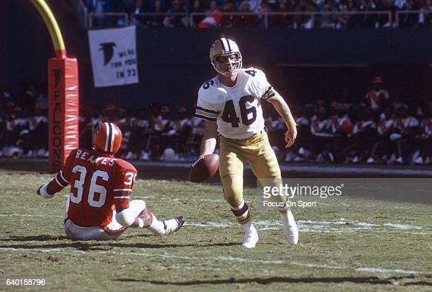 Danny Abramowicz of the New Orleans Saints in action against the Atlanta Falcons during an NFL football game at AtlantaFulton County Stadium circa...