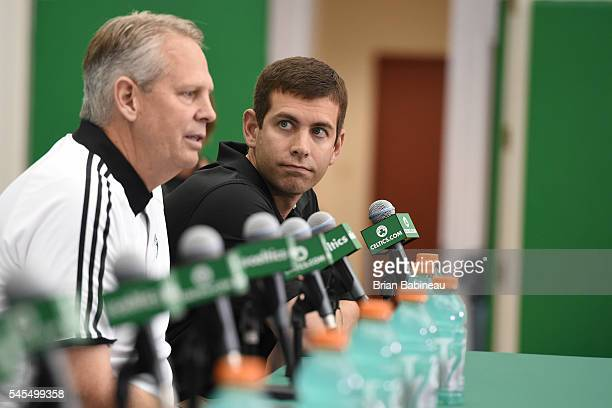 Danny Ainge and Brad Stevens of the Boston Celtics introduce the Celtics 2016 NBA Draft class during a press conference on June 24, 2016 at TD Garden...