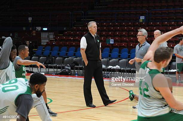 Danny Ainge Boston Celtics President of Basketball Operations observes practice as part of the 2015 Global Games on October 5 2015 at the Mediolanum...