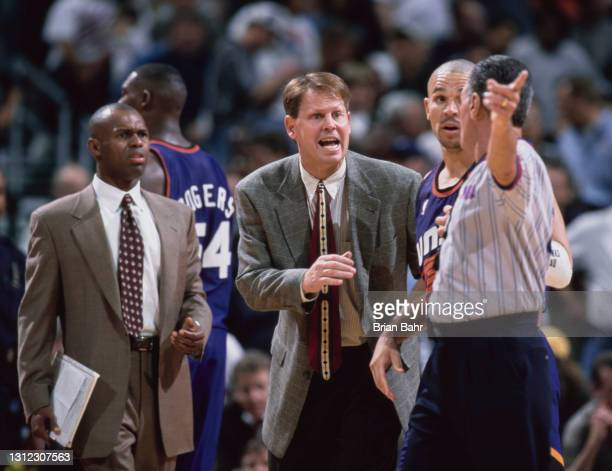 Danny Ainge, Head Coach and Jason Kidd, Point Guard and Shooting Guard for the Phoenix Suns argues a call with the referee during the NBA Midwest...
