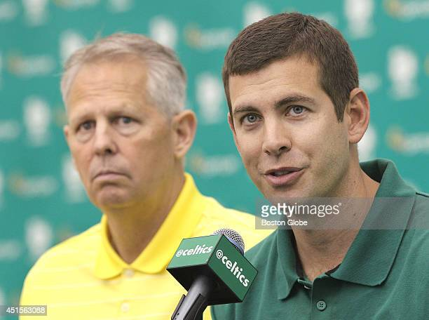 Danny Ainge, left, president of basketball operations, and head coach Brad Stevens at the press conference. The Boston Celtics introduce their new...