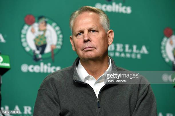 Danny Ainge looks on as Kyrie Irving and Gordon Hayward get introduced as Boston Celtics on September 1, 2017 at the TD Garden in Boston,...