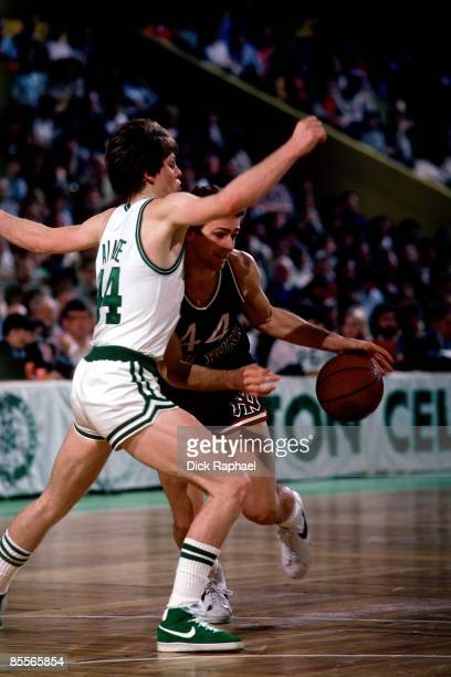Danny Ainge of the Boston Celtics defends against Paul Westphal of the New york Knick during a game played in 1981 at the Boston Garden in Boston...