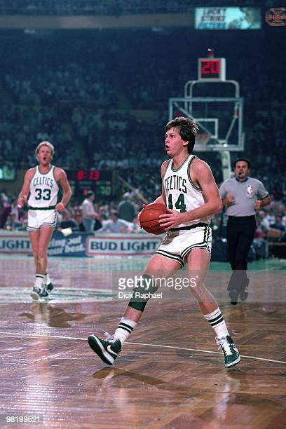 Danny Ainge of the Boston Celtics dribbles during a game played in 1985 at the Boston Garden in Boston Massachusetts NOTE TO USER User expressly...