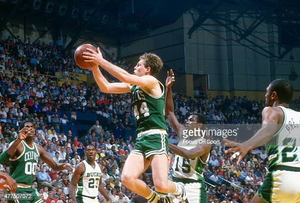 Danny Ainge of the Boston Celtics shoots against the Milwaukee Bucks during an NBA basketball game circa 1986 at the MECCA Arena in Milwaukee...