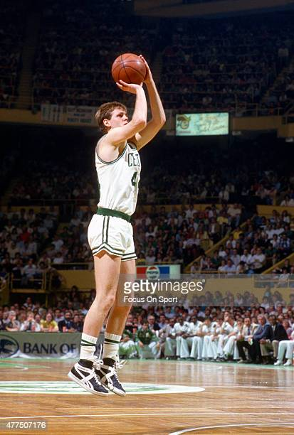 Danny Ainge of the Boston Celtics shoots against the Milwaukee Bucks during an NBA basketball game circa 1986 at the Boston Garden in Boston...