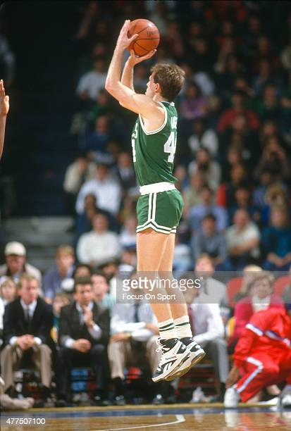 Danny Ainge of the Boston Celtics shoots against the Washington Bullets during an NBA basketball game circa 1987 at the Capital Centre in Landover...