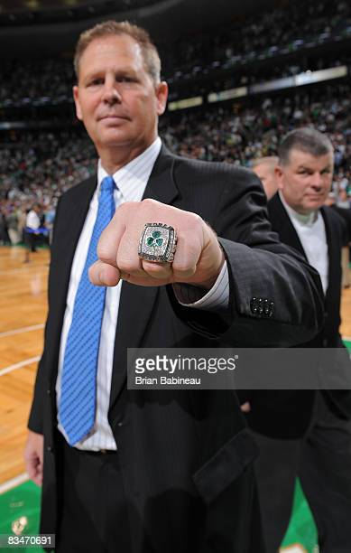 Danny Ainge of the Boston Celtics shows his 2008 NBA Championship ring before the game against the Cleveland Cavaliers on October 28, 2008 at the TD...