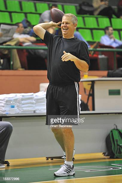 Danny Ainge of the Boston Celtics tosses a football before practice on October 4 2012 at the Darussafaka Ayhan Sahenk in Istanbul Turkey NOTE TO USER...