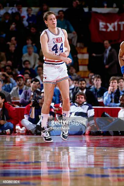 Danny Ainge of the Eastern Conference All Stars passes the ball against the Western Conference All Stars in 1988 at Chicago Stadium in Chicago IL...