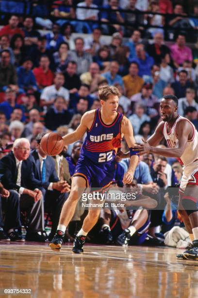Danny Ainge of the Phoenix Suns handles the ball during the game against the Chicago Bulls during Game Three of the 1993 NBA Finals on June 13 1993...
