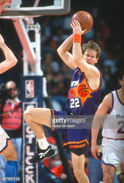 Danny Ainge of the Phoenix Suns in action against the Washington Bullets during an NBA basketball game circa 1993 at the Capital Centre in Landover...