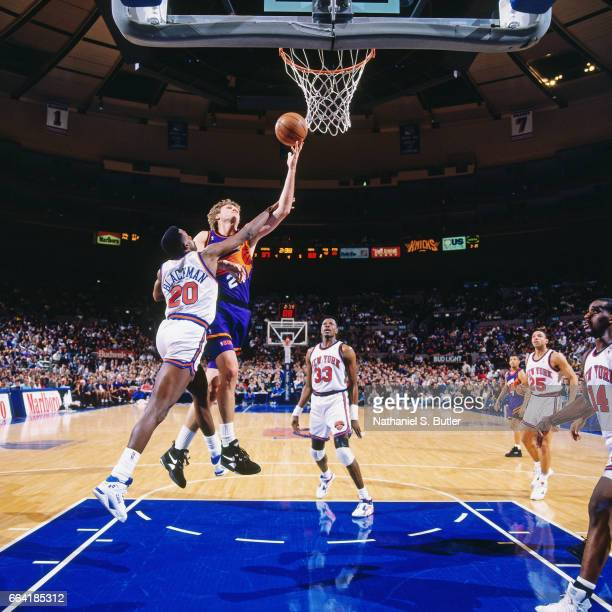 Danny Ainge of the Phoenix Suns shoots against the New York Knicks during a game played circa 1993 at the Madison Square Garden in New York City NOTE...