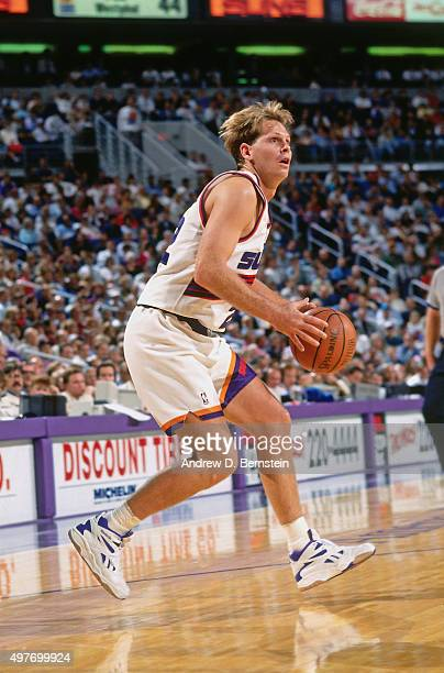 Danny Ainge of the Phoenix Suns shoots circa 1993 at the America West Arena in Phoenix Arizona NOTE TO USER User expressly acknowledges and agrees...
