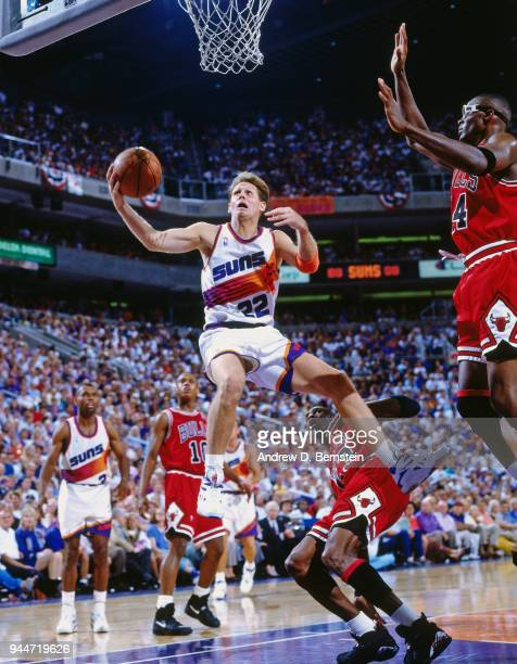 Danny Ainge of the Phoenix Suns shoots the ball against the Chicago Bulls during game 2 of the 1993 NBA Finals on June 13 1993 at America West Arena...