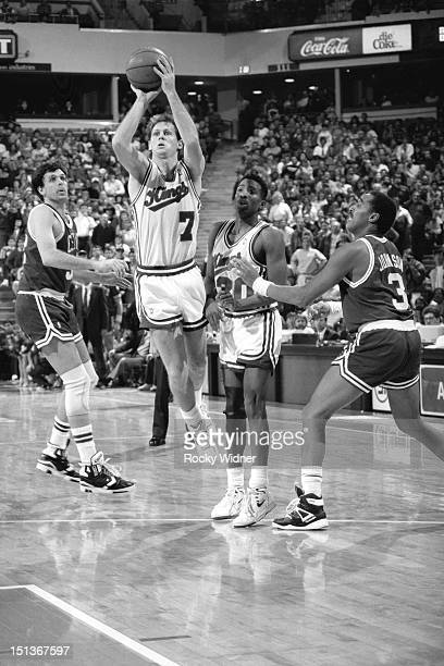 Danny Ainge of the Sacramento Kings shoots against the Boston Celtics on December 27 1989 at Arco Arena in Sacramento California NOTE TO USER User...