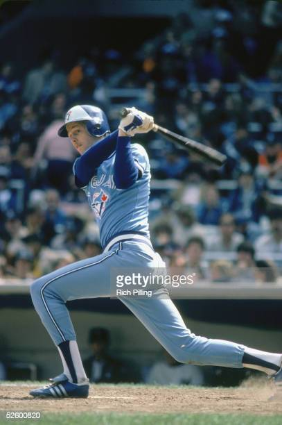 Danny Ainge of the Toronto Blue Jays swings at the ball during a game circa 1981. Danny Ainge played for the Toronto Blue Jays from 1979 -1981 and...