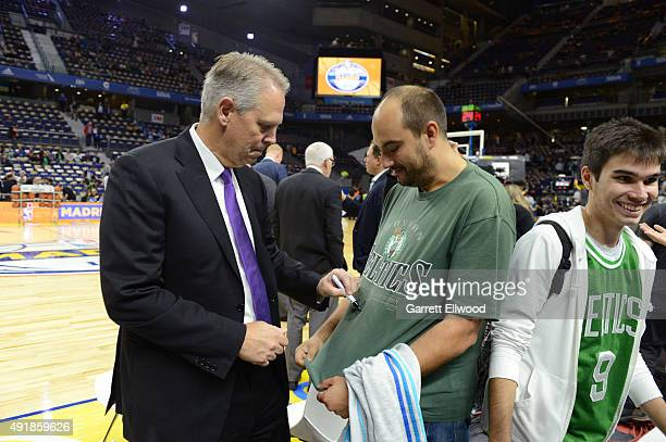 Danny Ainge President of Basketball Operation for the Boston Celtics signs autograhs for fans before the game against Real Madrid as part of the 2015...