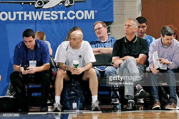 Danny Ainge President of Basketball Operations of the Boston Celtics watches a game against the Miami Heat during the Samsung NBA Summer League 2014...
