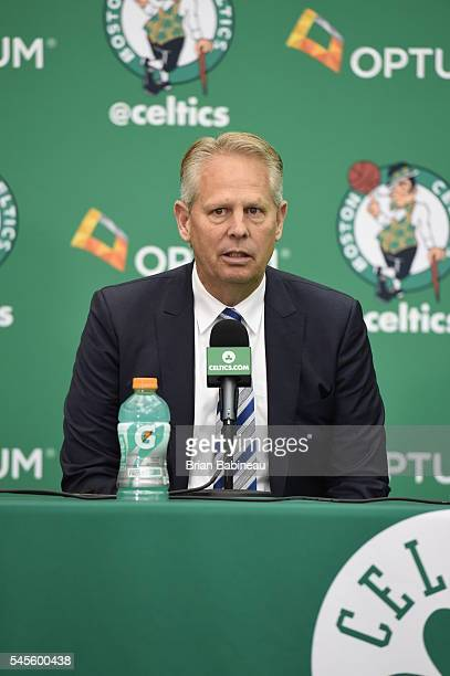 Danny Ainge welcomes Al Horford as the newest member of the Boston Celtics on July 8 2016 at the Boston Celtics Practice Facility in Waltham...