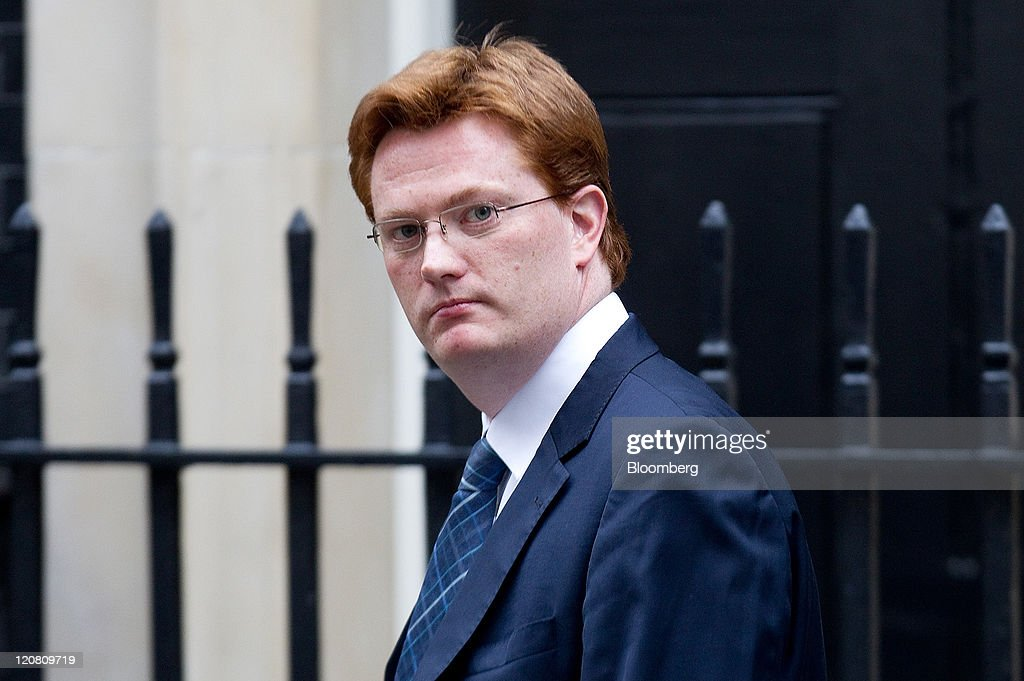 Danny Alexander, U.K. chief secretary to the treasury, leaves 10 Downing Street following a cabinet meeting in London, U.K., on Thursday, Aug. 11, 2011. Prime Minister David Cameron said that his government will not allow ''a culture of fear'' to reign on Britain's streets after the worst rioting since the 1980s. Photographer: Simon Dawson/Bloomberg via Getty Images