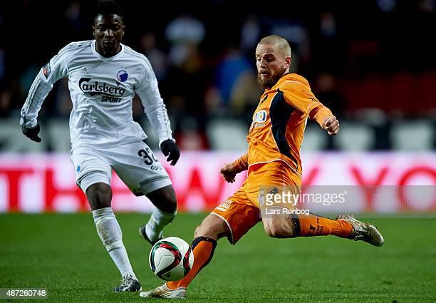 Danny Amankwaa of FC Copenhagen and Kasper Fisker Jensen of Randers FC compete for the ball during the Danish Alka Superliga match between FC...