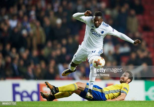 Danny Amankwaa of FC Copenhagen and Petr Jiracek of FC Zlin compete for the ball during the UEFA Europa League match between FC Copenhagen and FC...