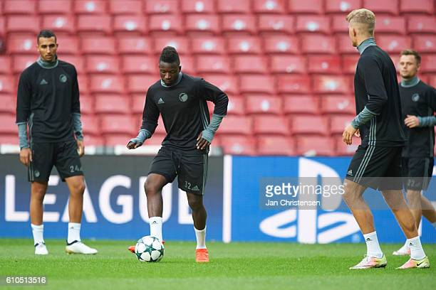 Danny Amankwaa of FC Copenhagen and rest of the players of FC Copenhagen during last training prior to the UEFA Champions League group stage match...