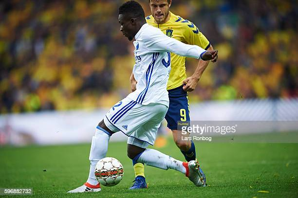 Danny Amankwaa of FC Copenhagen and Teemu Pukki of Brondby IF compete for the ball during the Danish Alka Superliga match between Brondby IF and FC...