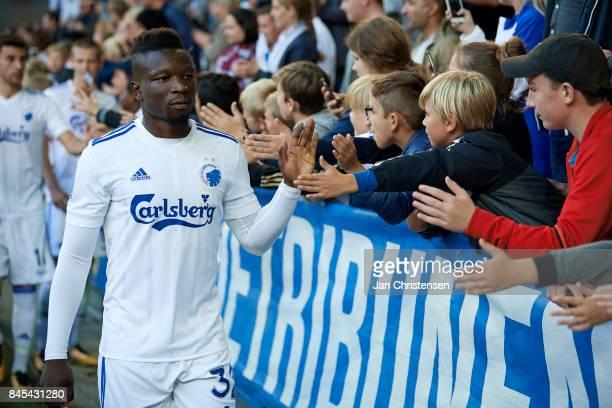 Danny Amankwaa of FC Copenhagen celebrating with fans after the Danish Alka Superliga match between FC Copenhagen and FC Midtjylland at Telia Parken...