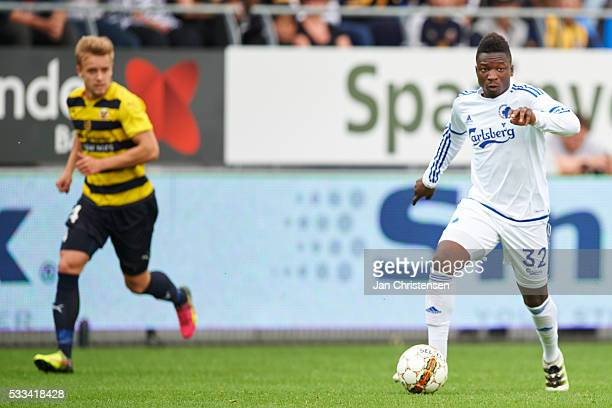 Danny Amankwaa of FC Copenhagen controls the ball during the Danish Alka Superliga match between Hobro IK and FC Copenhagen at DS Arena on May 22...