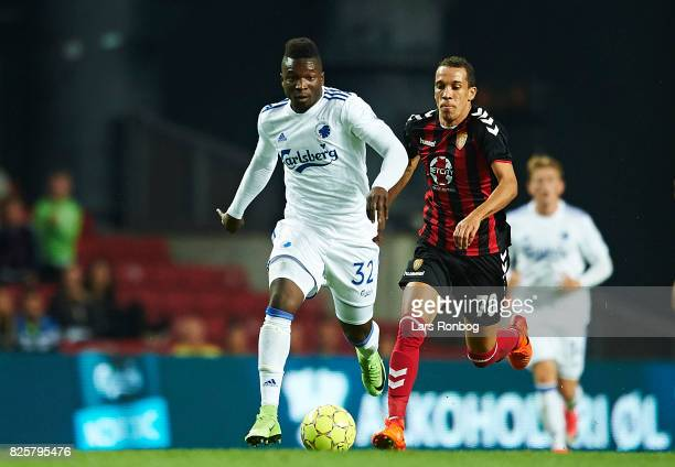 Danny Amankwaa of FC Copenhagen controls the ball during the UEFA Champions League Qualification 3rd round 2th leg match between FC Copenhagen and...