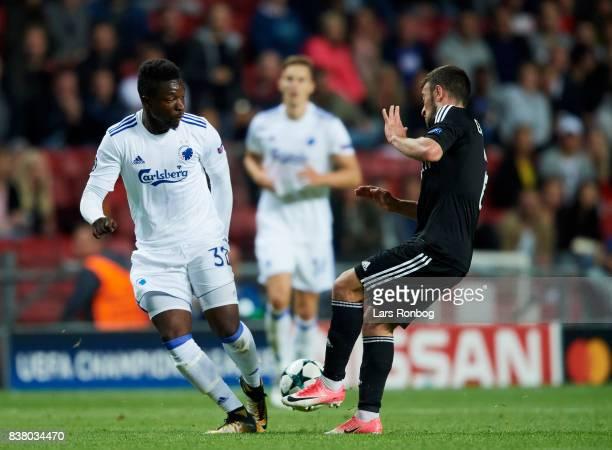 Danny Amankwaa of FC Copenhagen controls the ball during the UEFA Champions League Playoff 2nd Leg match between FC Copenhagen and Qarabag FK at...