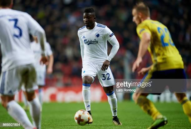 Danny Amankwaa of FC Copenhagen controls the ball during the UEFA Europa League match between FC Copenhagen and FC Zlin at Telia Parken Stadium on...