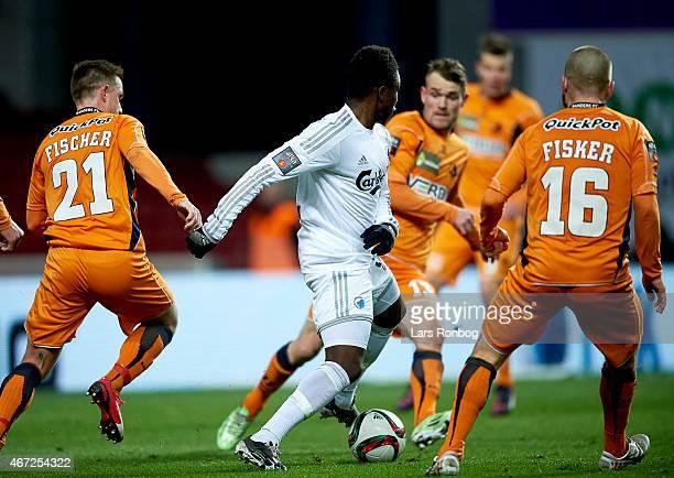 Danny Amankwaa of FC Copenhagen in action against the Randers FC defenders during the Danish Alka Superliga match between FC Copenhagen and Randers...