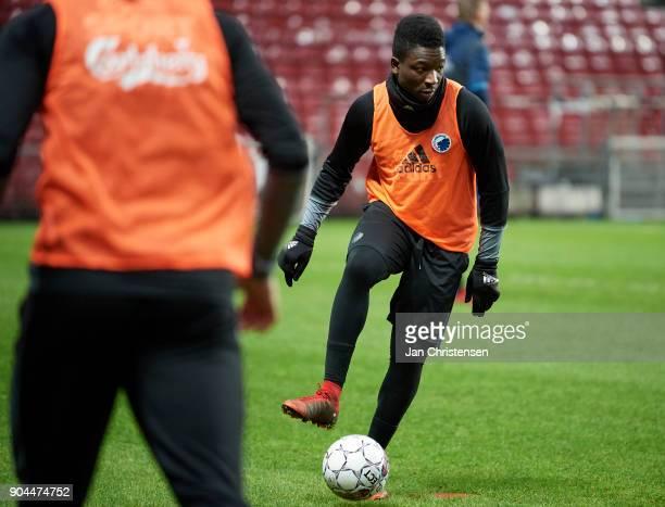 Danny Amankwaa of FC Copenhagen in action during traing session at Telia Parken Stadium on January 13 2018 in Copenhagen Denmark