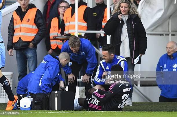 Danny Amankwaa of FC Copenhagen injured during the Danish Alka Superliga match between Randers FC and FC Copenhagen at AutoC Park on April 26 2015 in...