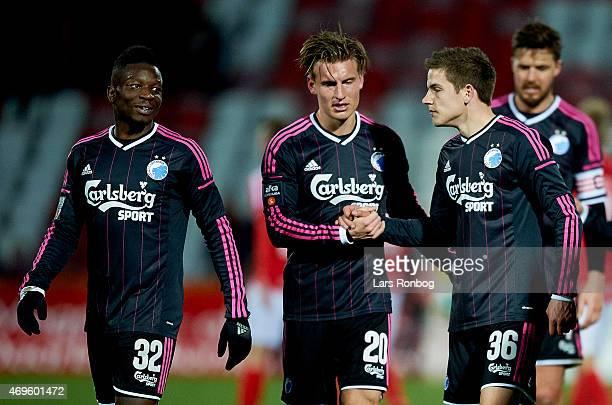 Danny Amankwaa of FC Copenhagen speaks to team mates Christoffer Remmer and Brandur Olsen after the Danish Alka Superliga match between Silkeborg IF...