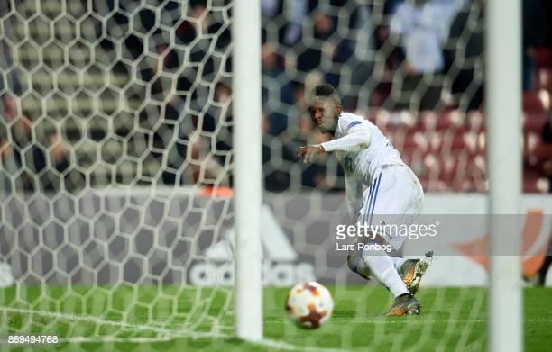 Danny Amankwaa of FC Copenhagen with a bg possibility during the UEFA Europa League match between FC Copenhagen and FC Zlin at Telia Parken Stadium...