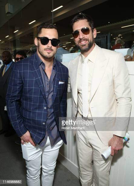 Danny Amendola and Aaron Rodgers attend the 145th Kentucky Derby at Churchill Downs on May 4 2019 in Louisville Kentucky